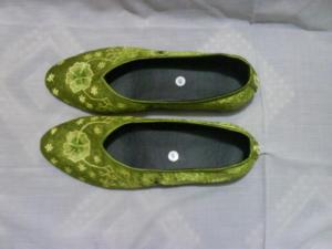 Sepatu Bordir Model Bunga Hijau